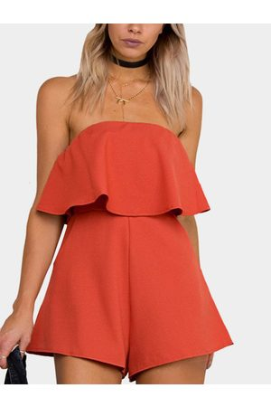 YOINS Layered Design Strapless Tube Playsuit With Zipper Closure