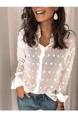 YOINS CHRISTMAS SALE White Button Design Polka Dot Classic Collar Long Sleeves Blouse