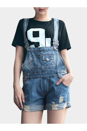 YOINS Denim Playsuit With Rips And Rolled Hem