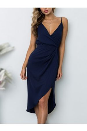 YOINS V-neck Ruching Side Asymmetric Wrap Midi dress