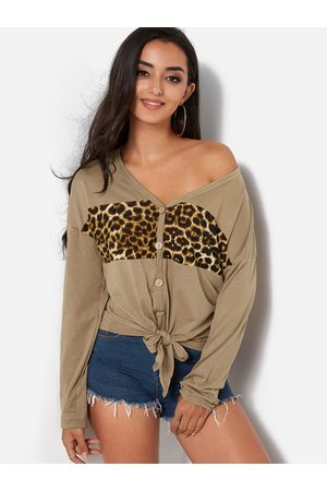 YOINS Leopard Knotted Fashion T Shirt