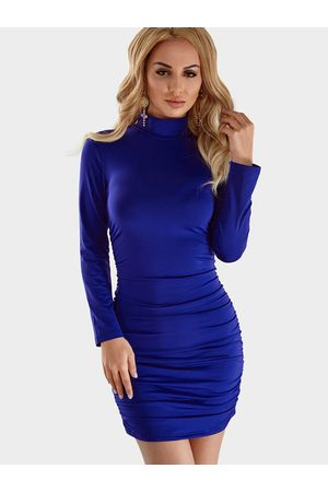 YOINS Pleated Design High Neck Long Sleeves Bodycon Dress