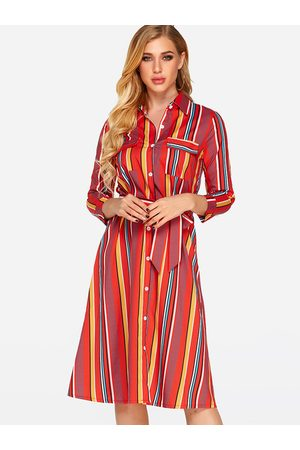 YOINS Red Printed Classic Collar 3/4 Length Sleeves Dress with Belt