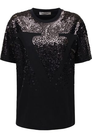 VALENTINO Sequined Cotton Jersey T-shirt