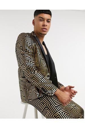Twisted Tailor Suit jacket with satin lapel with geo foil in black velvet