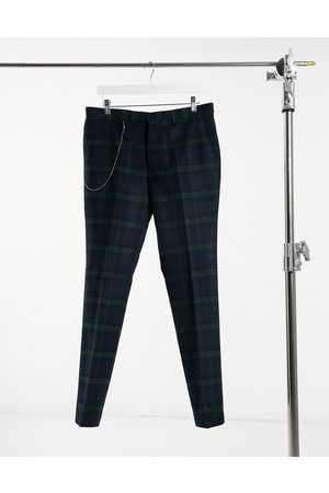 Twisted Tailor Suit trousers in green and check