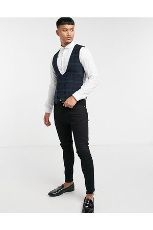 Twisted Tailor Men Waistcoats - Suit waistcoat in green and check
