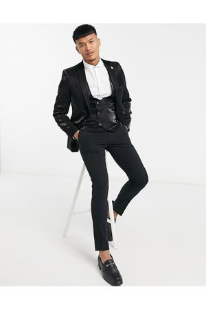 Twisted Tailor Suit jacket with velvet collar in high shine