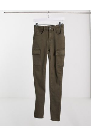 Noisy May High waisted jeans with cargo pockets in khaki