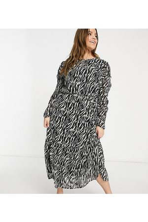 Missguided Midi smock dress with puff sleeves in zebra print