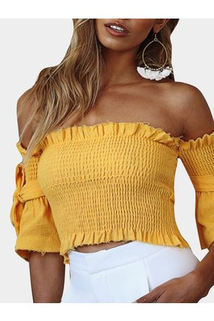 YOINS Shirring Off Shoulder Short Sleeves Crop Top