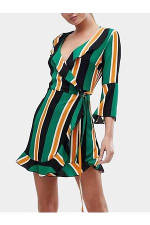 YOINS Green Lace-up Design Stripe V-neck Bell Sleeves High-waisted Dress