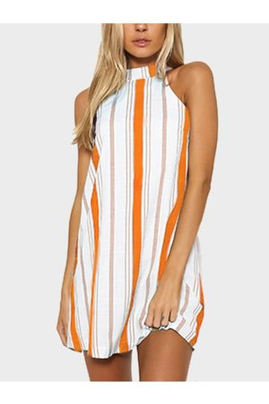 YOINS Women Halterneck Dresses - Stripe Halter Neck Mini Dress