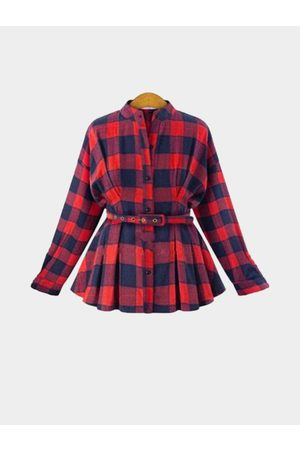 YOINS Women Casual Dresses - Red Classic Collar Button Front Grid Pattern Shirt with Waist Blet