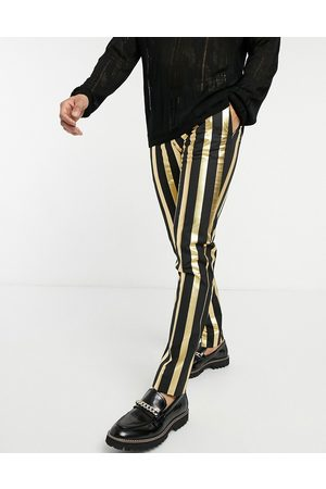 Twisted Tailor Suit trousers in black and stripe