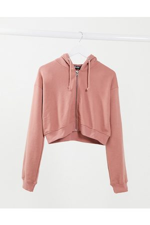 Missguided Cropped zip up hoodie in rose