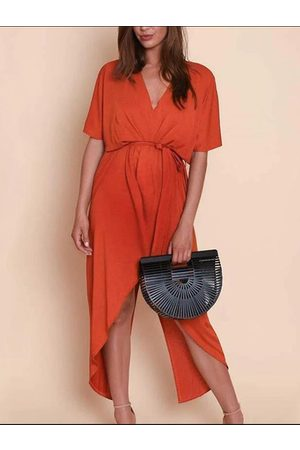YOINS V-neck Tie-up Design Slit Hem Dress