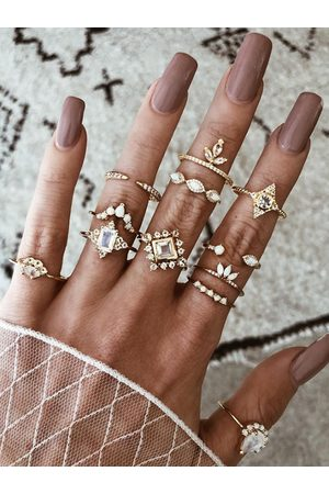 YOINS Bohemian Diamond Gold Twelve-piece Ring Set