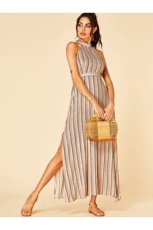 YOINS Cut Out Stripe Halter Neck Knotted Dress