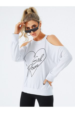 YOINS White Graphic Halter Long Sleeves Tee
