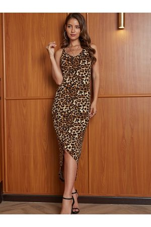 YOINS Random Leopard Criss-cross Scoop Neck Sleeveless Dress