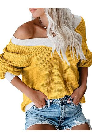 YOINS Yellow Color Blocking One Shoulder Long Sleeves Knit Top