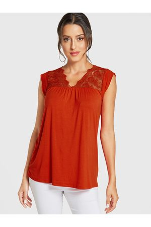 YOINS Women Vests & Camis - Lace Insert V-neck Sleeveless Top