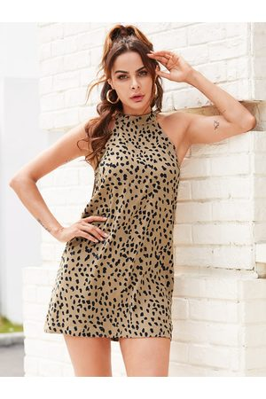 YOINS Apricot Backless Design Animal Halter Dress