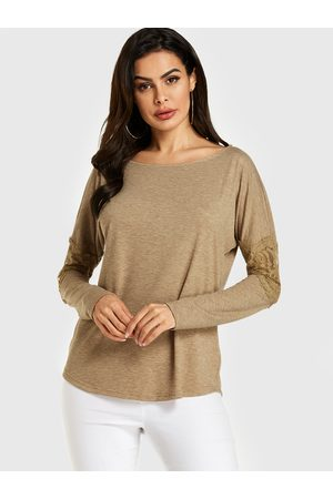 YOINS Lace Insert Round Neck Long Sleeves Tee