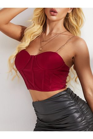 YOINS Women Strapless Tops - Burgundy Backless Design V-neck Sleeveless Crop Top