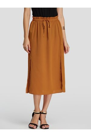 YOINS Self-tie Design Plain Drawstring Waist Skirt