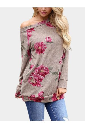 YOINS Random Floral Print One Shoulder Long Sleeves T-shirt