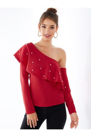 YOINS Cold Shoulder Pearl Detail Long Sleeves Overlay Tee