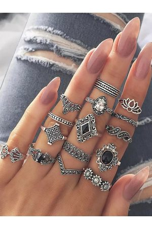 YOINS Bohemian Ancient Anemone Fifteen-piece Rings Set