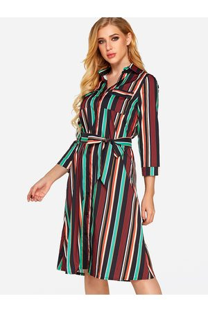 YOINS Black Printed Classic Collar 3/4 Length Sleeves Dress with Belt