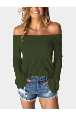 YOINS Army Off The Shoulder Bell Sleeves T-shirt