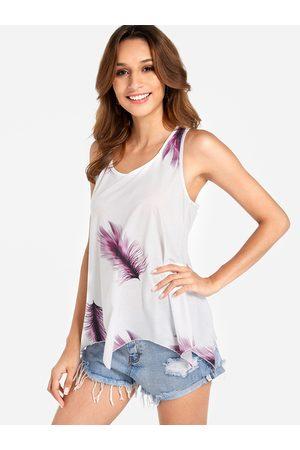 YOINS Lace-up Design Purple Feather Print Round Neck Sleeveless Tank Top