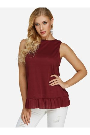 YOINS Lace Insert Crew Neck Sleeveless Tank Top