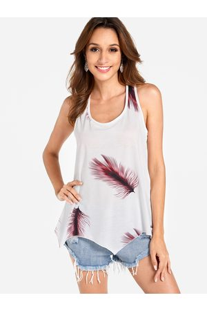 YOINS Lace-up Design Burgundy Feather Print Round Neck Sleeveless Tank Top