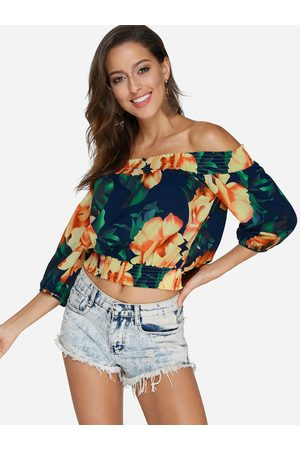 YOINS Random Tropical Print Off The Shoulder Half Sleeves Smocking Crop Top