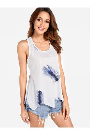 YOINS Lace-up Design Blue Feather Print Round Neck Sleeveless Tank Top