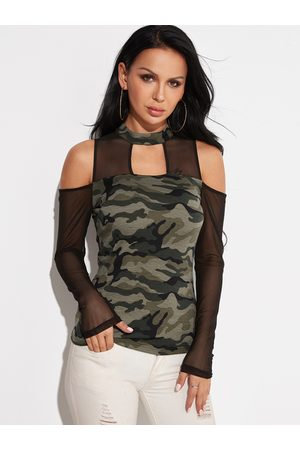 YOINS Camouflage Stand Neck Cold Shoulder Long Sleeves T-shirts