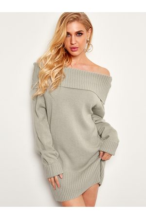 YOINS Off The Shoulder Long Sleeves Sweater Dress