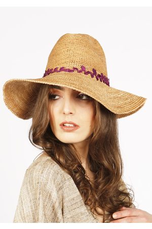 MARAINA LONDON CASSANDRA raffia panama hat- with purple lace