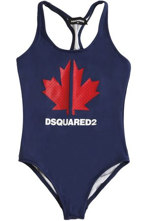 Dsquared2 Girls Swimming Costumes - Logo Print Lycra One Piece Swimsuit