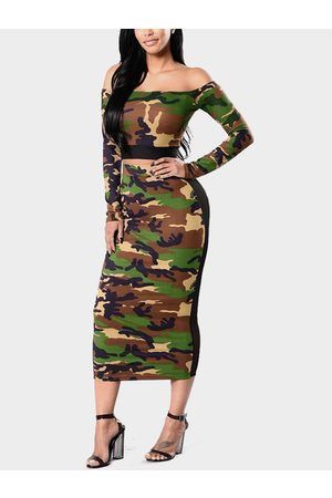 YOINS Camouflage Off The Shoulder Long Sleeves Top And Net Yarn Bodycon Skirt