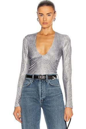 Alix NYC Irving Metallic Bodysuit in Graphite Metallic