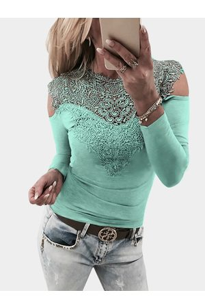 YOINS Women Long Sleeve - Light Lace Insert Cold Shoulder Long Sleeves Causal T-shirt