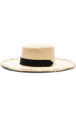 SENSI STUDIO Frayed Boater Hat with Band in Natural &