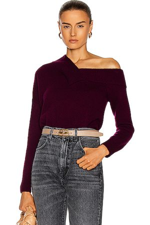Michelle Mason Off Shoulder Sweater in Oxblood